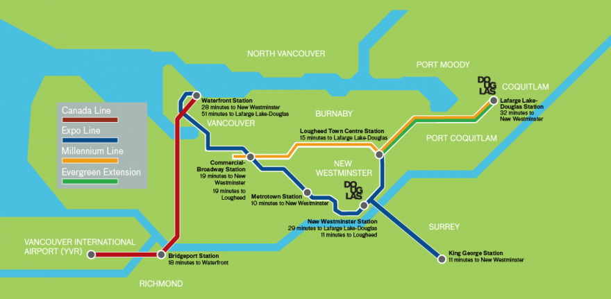 SkyTrain Route to Douglas College Campuses