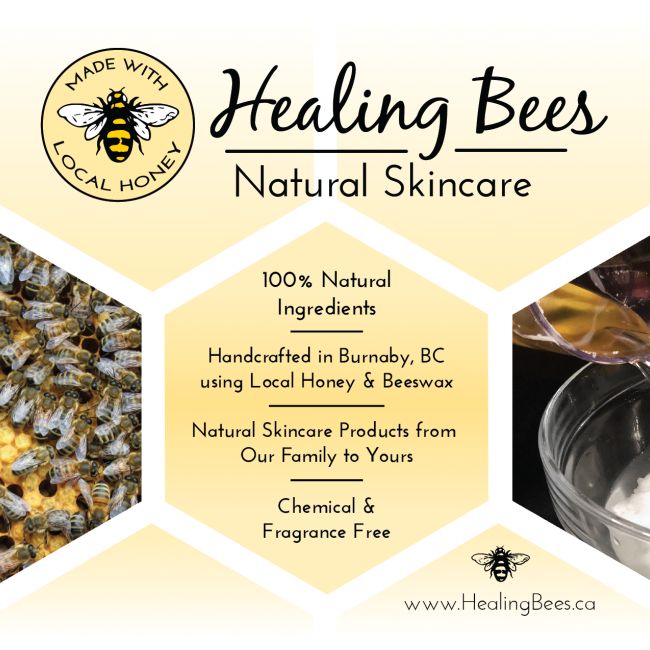 Healing Bees Natural Skincare poster for alumni marketplace 2020